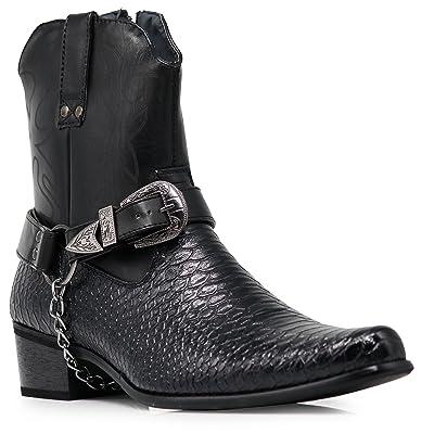 Alberto Fellini Men's Crocodile Prints Western Cowboy Boots with Side Zipper, Belt Buckle and Metal Chain | Boots