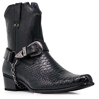 2c3b97faf48de Alberto Fellini Men s Crocodile Prints Western Boots with Side Zipper