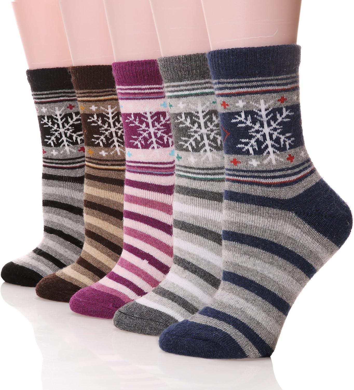 DoSmart Womens Super Thick Winter Wool Casual Crew Socks-5 Pairs