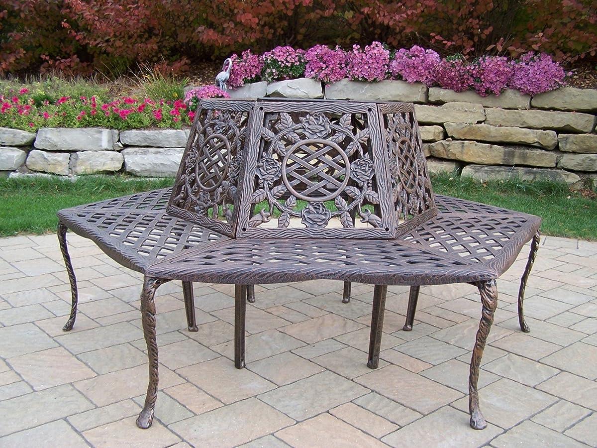 Oakland Living Tea Rose Cast Aluminum Tree Bench, Antique Bronze