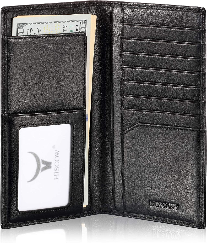 Slim Leather Long Wallet for Men & Women, Italian Calfskin, Breast Pocket Wallet for Checkbook, Credit Cards