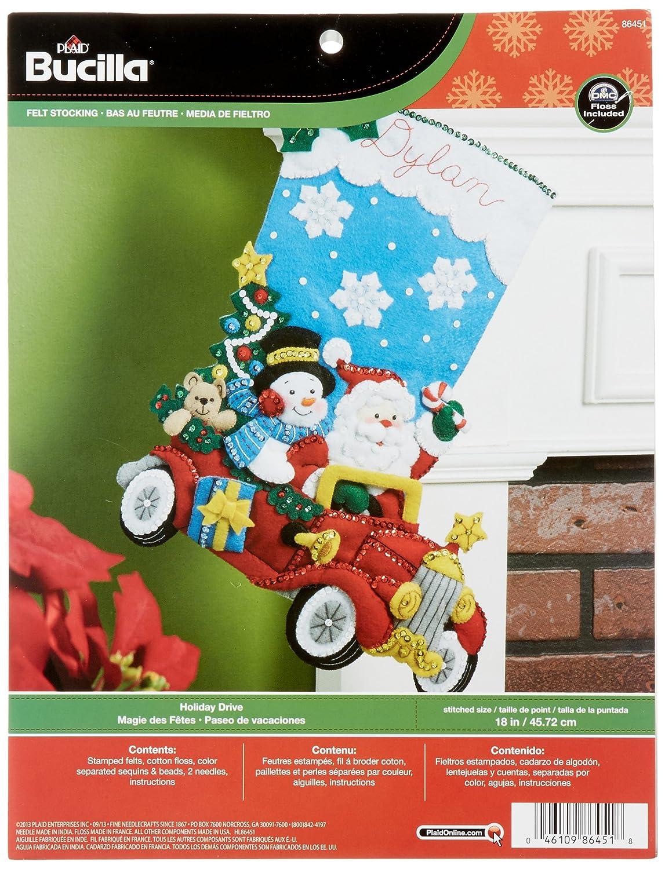 Bucilla 18-Inch Christmas Stocking Felt Applique Kit, 86451 Holiday Drive