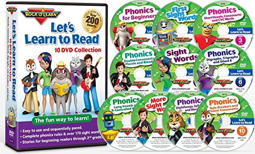 Amazon com: Let's Learn to Read 10 DVD Collection by Rock 'N Learn