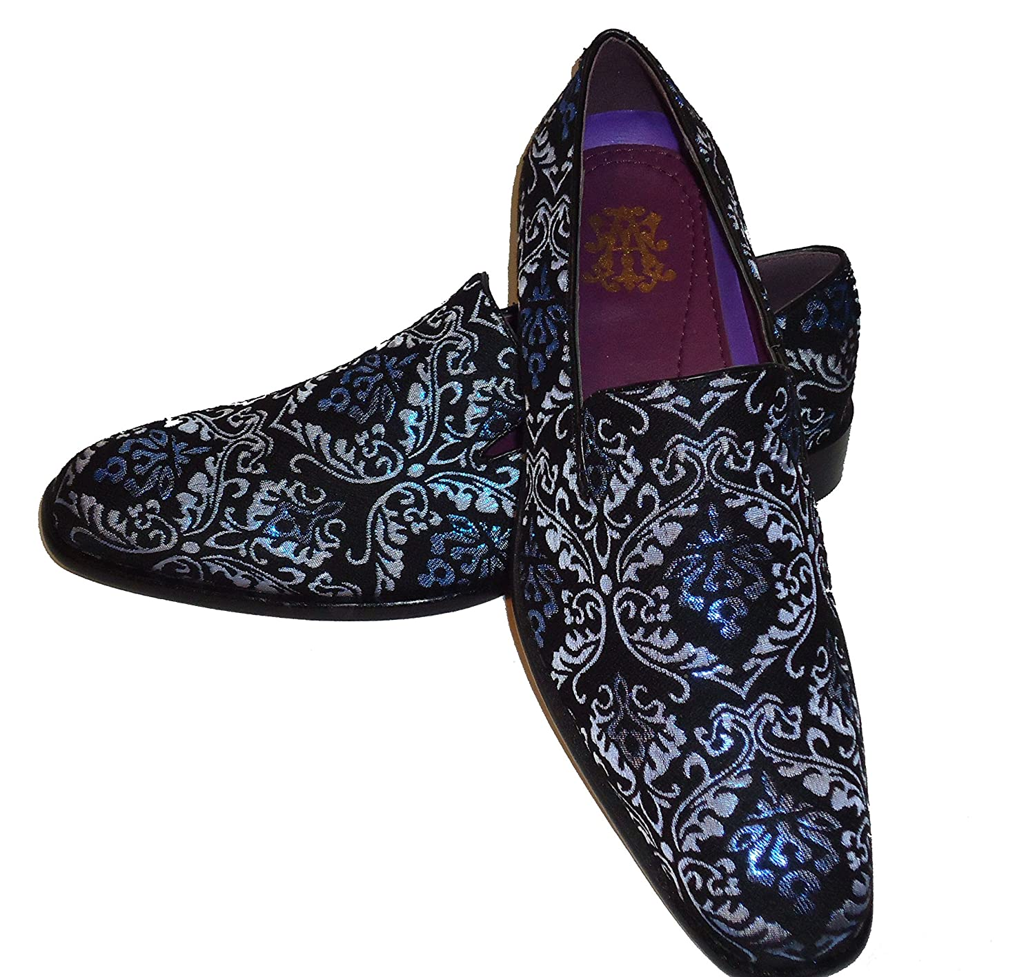 AM 6662 Mens Black w/ Blue Metallic Paisley Fabric Slippers Dress Shoes (10.5)