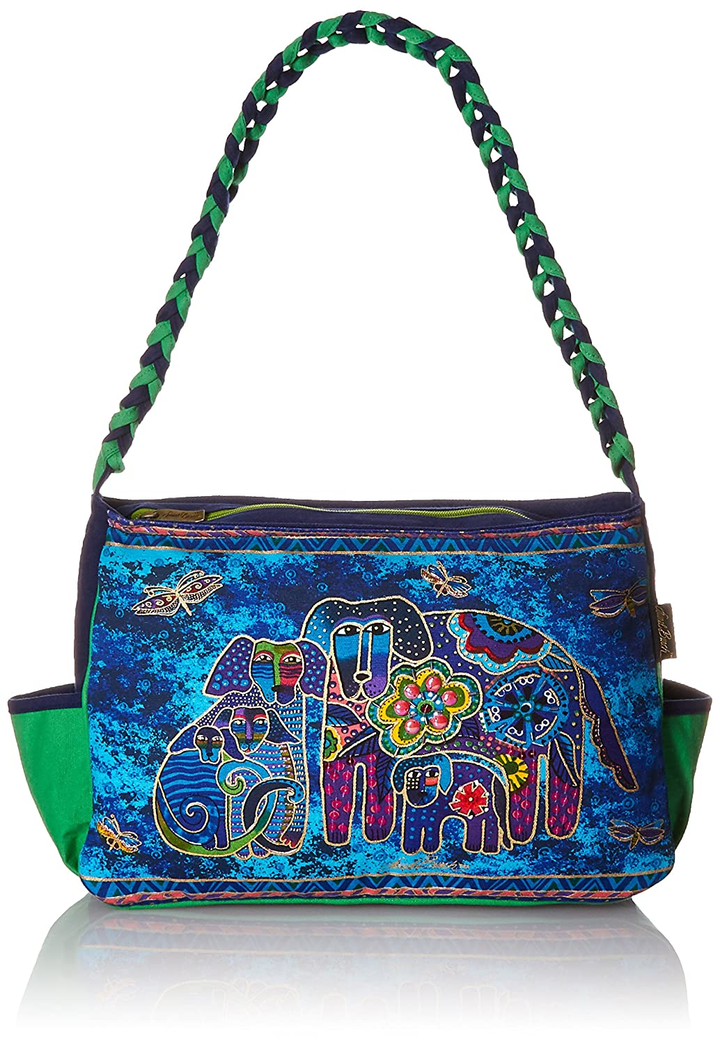 Laurel Burch Medium Hobo Zipper Top, 14-1/2-Inch by 4-1/2-Inch by 10-Inch, Canine Family LB4853