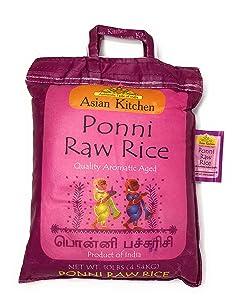 Asian Kitchen Ponni Raw Rice 10-Pound Bag, 10lbs (4.54kg) Short Grain Rice ~ All Natural | Gluten Friendly | Vegan | Indian Origin | Export Quality
