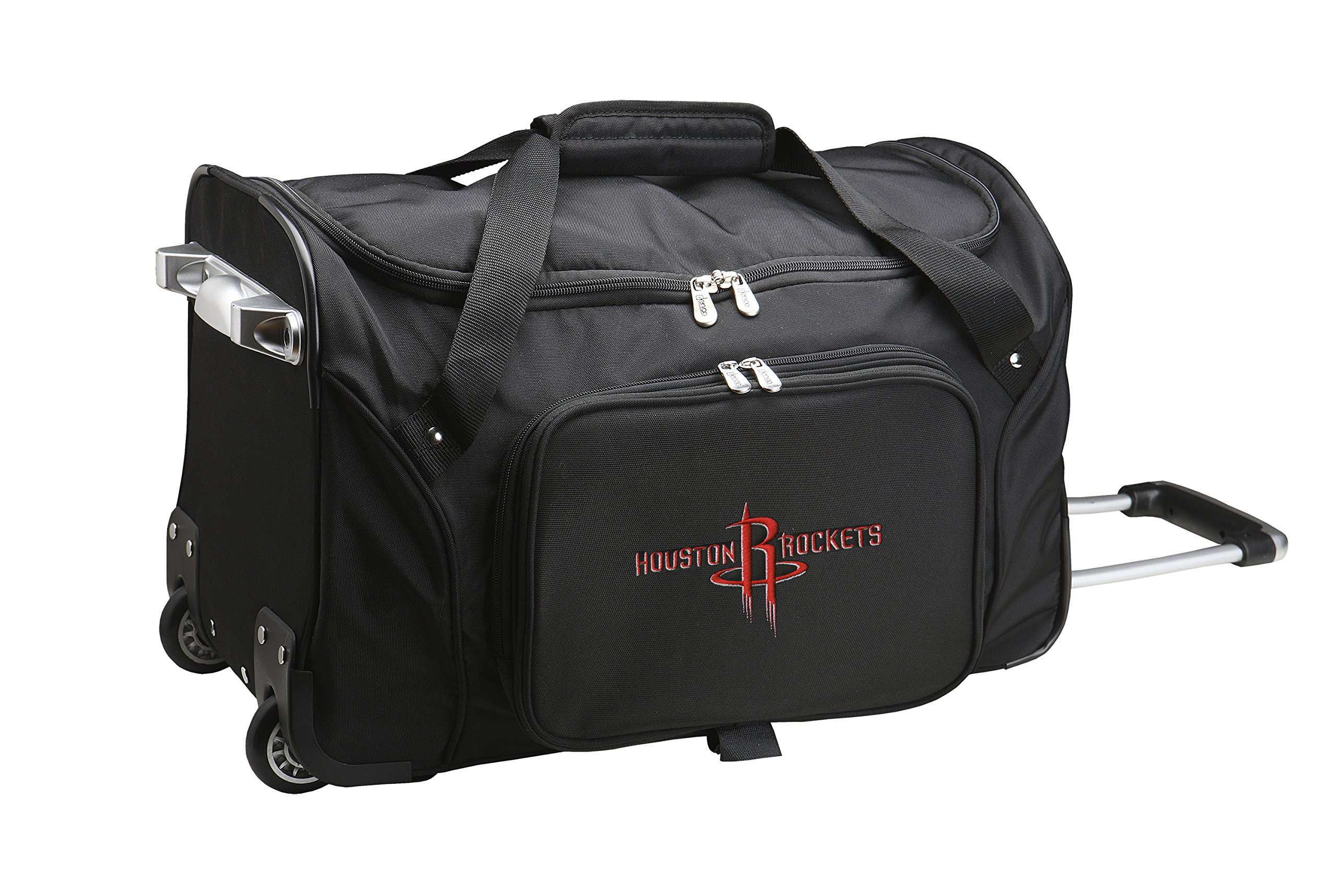 NBA Houston Rockets Wheeled Duffle Bag, 22 x 12 x 5.5'', Black by Denco