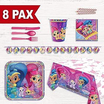 Party Fiesta Pack cumpleaños Shimmer & Shine para 8 Personas: Amazon.es: Juguetes y juegos