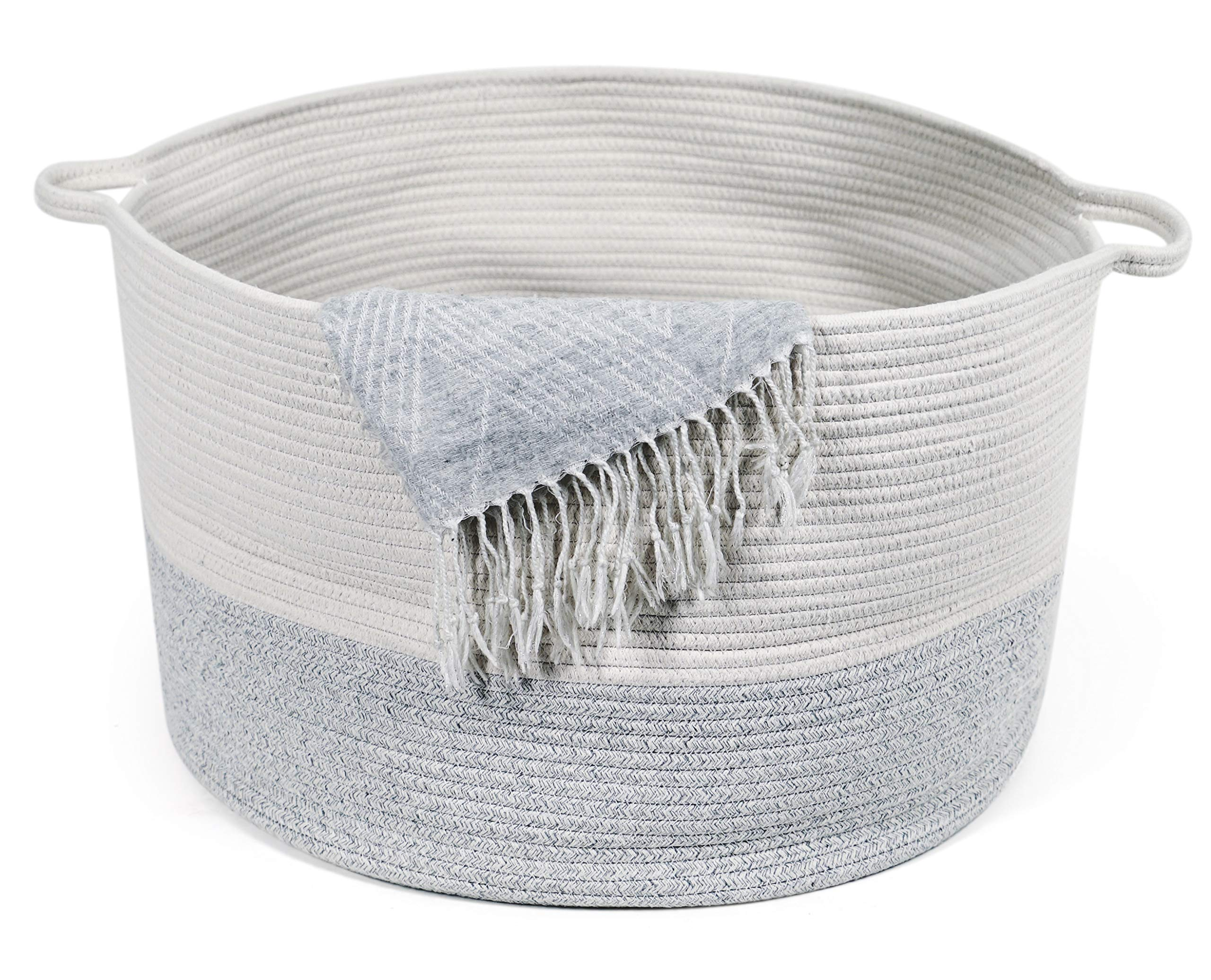 KWY Home XXXLarge Cotton Rope Woven Storage & Toy Basket - 22'' x 22'' x 14'' - Holds 4 Blankets, 20 Towels, 5 Pillows!! - Perfect for Baby Nursery, Laundry Hamper or Living Room with Handles by KWY Home