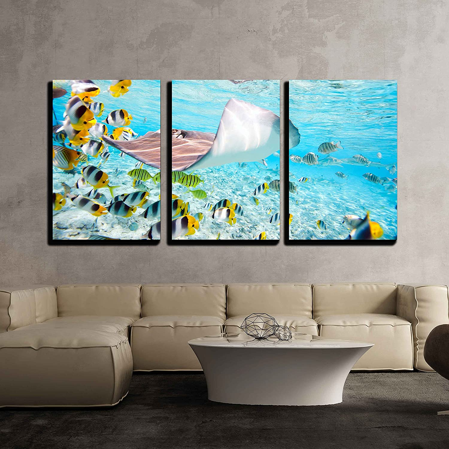 """wall26 - 3 Piece Canvas Wall Art - Colorful Fish, Stingray and Black Tipped Sharks Underwater in Bora Bora Lagoon - Modern Home Decor Stretched and Framed Ready to Hang - 16""""x24""""x3 Panels"""