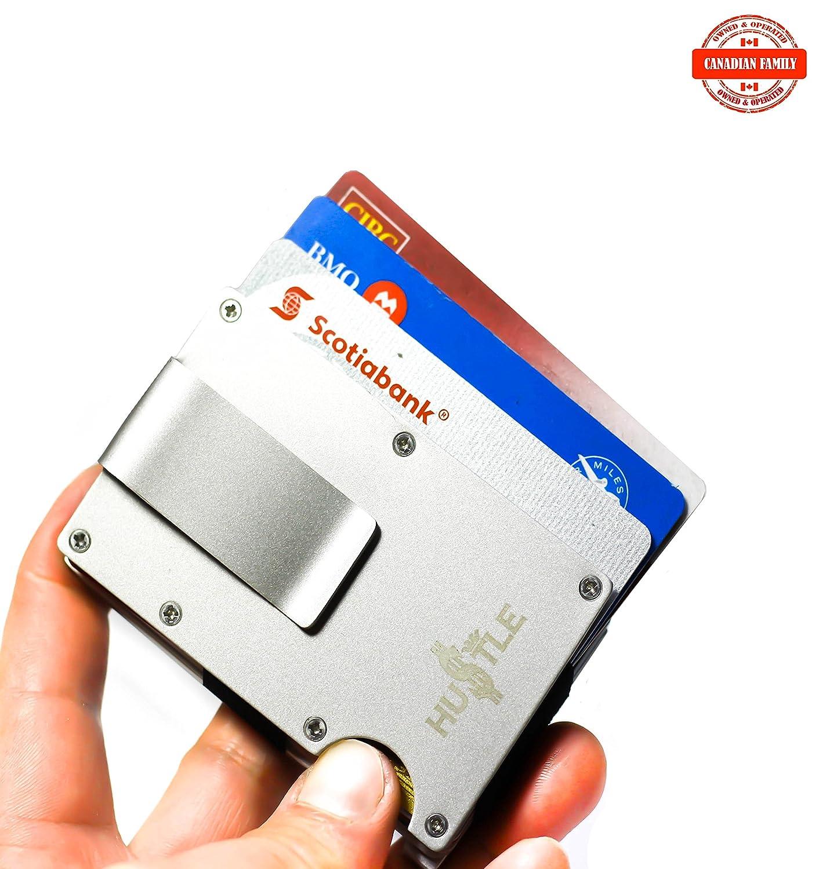 Slim /& Stylish RFID metal wallet,Stainless Steel card holder w//money clip -HU$TLE Black
