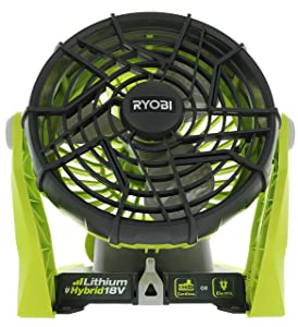 Ryobi P3320 18 Volt Hybrid One+ Battery or AC Powered Adjustable Indoor / Outdoor Shop Fan (Battery and Extension Cord Not Included / Fan Only)