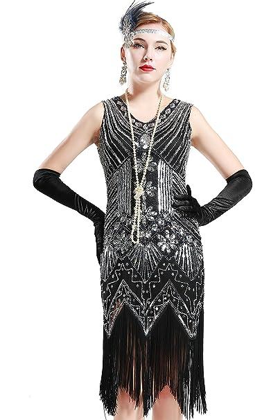 BABEYOND Flapper Vestidos Mujer Estilo 1920 Vestido Vintage con cuello en V con flecos de cuentas