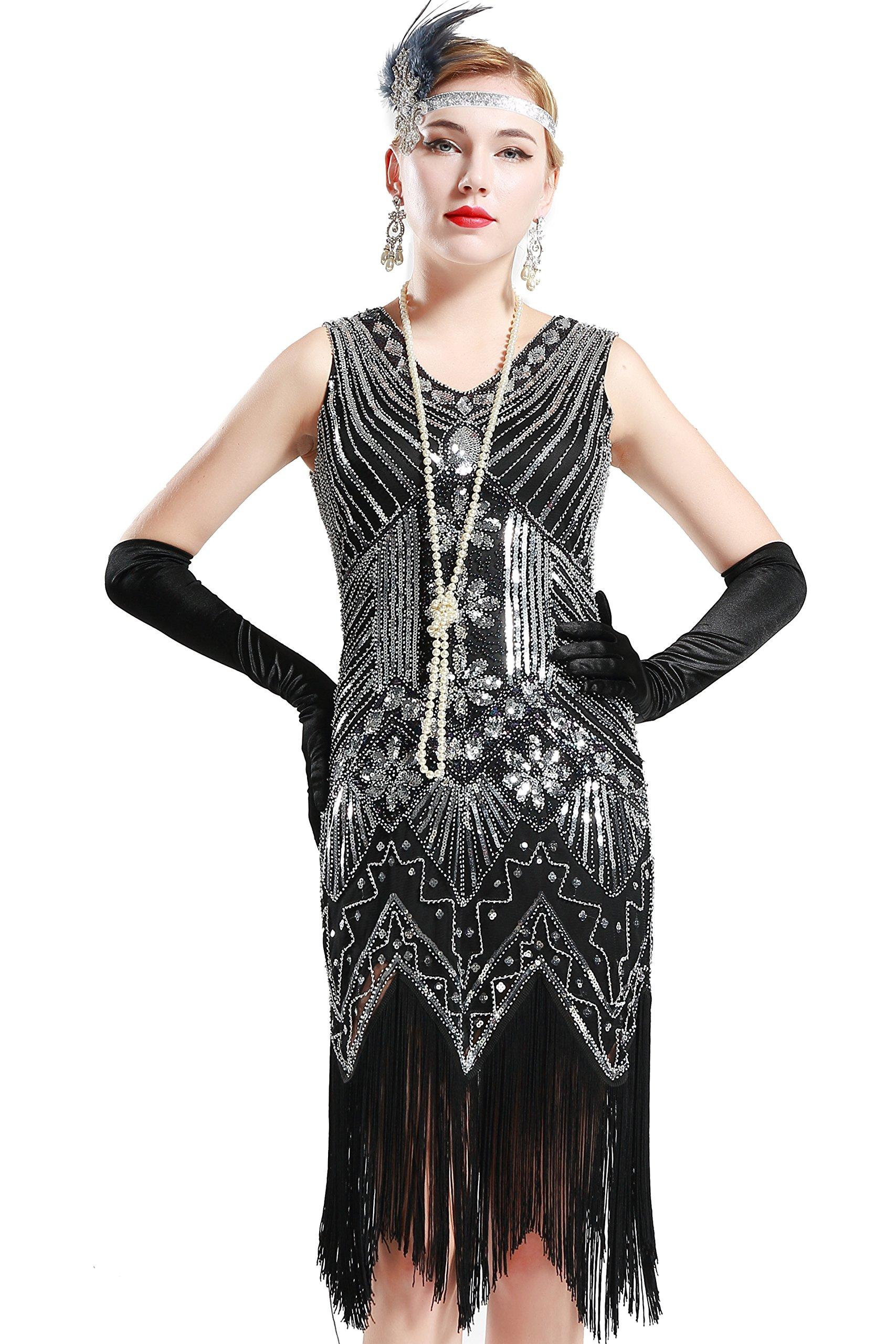 BABEYOND Women's Flapper Dresses 1920s V Neck Beaded Fringed Great Gatsby Dress (X-Large, Black)