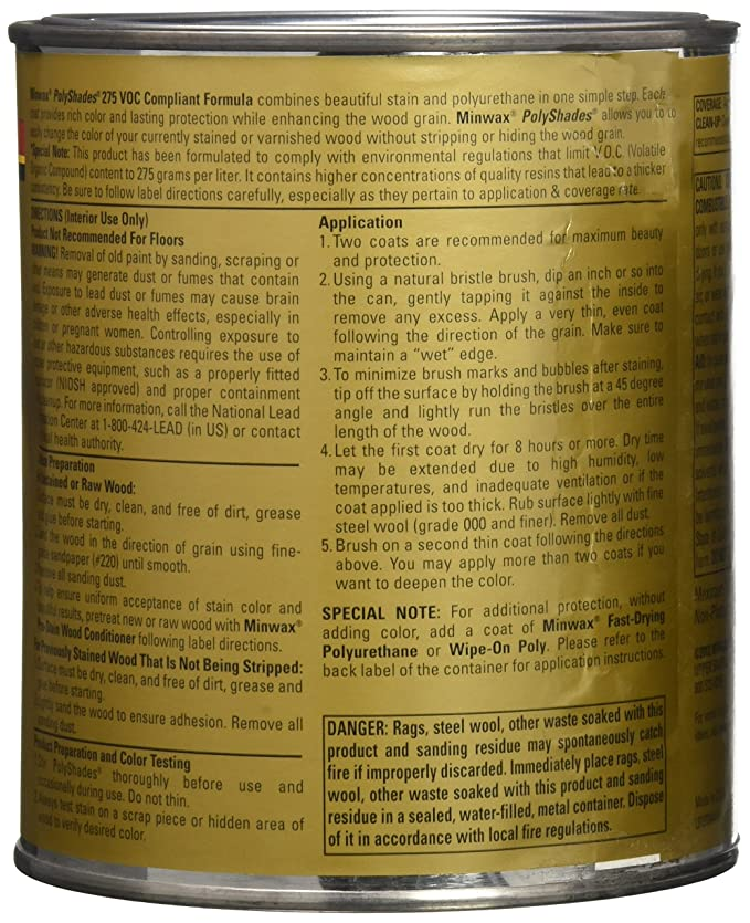 Minwax 619950444 Polyshades Stain Polyurethane In 1 Step Quart