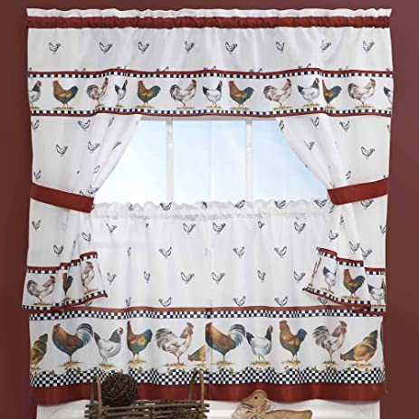 3 Piece Red White Rooster Kitchen Tiers Valance Set 57 X 24 Inch, Black  Color