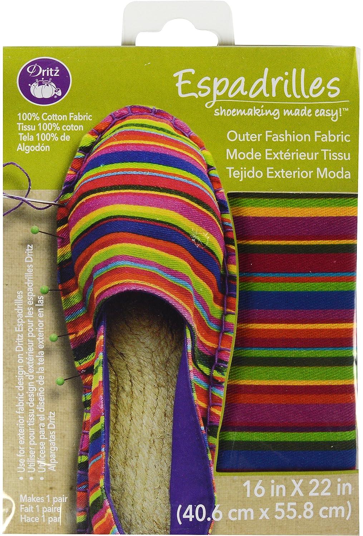 Amazon.com: Dritz 50023 Espadrilles Outer Fashion Multi Stripe Fabric, 16 x 22, Striped, Multicolor: Arts, Crafts & Sewing