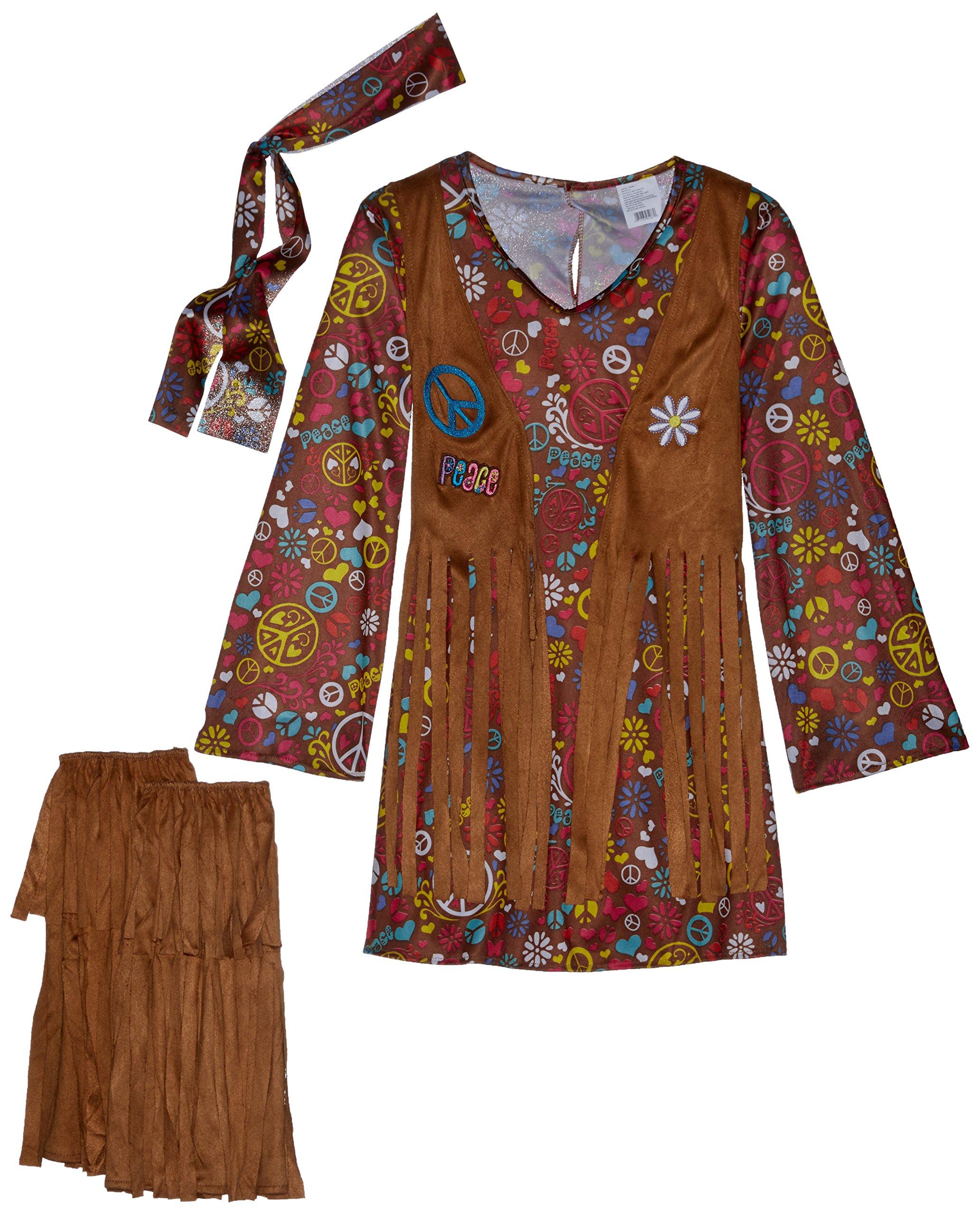 Fun World Peace & Love Hippie Costume, Medium 8 - 10, Multicolor by Fun World