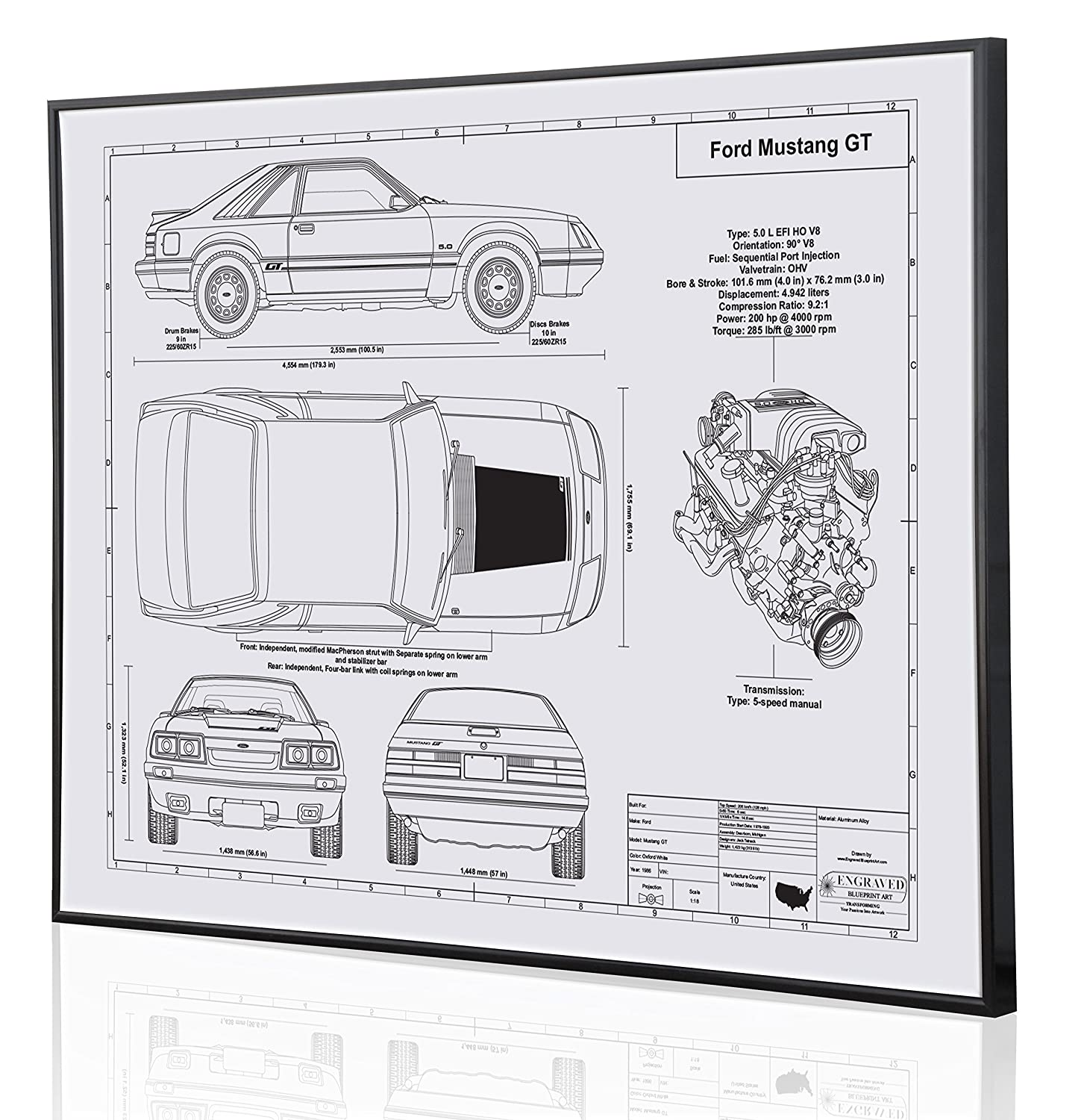 Amazon com ford mustang gt foxbody blueprint artwork laser marked personalized the perfect ford gifts handmade