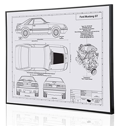 Ford Mustang Gt Foxbody Blueprint Artwork Laser Marked Personalized The Perfect Ford Gifts