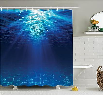 Amazon.com: Ambesonne Ocean Decor Shower Curtain Set, Underwater ...