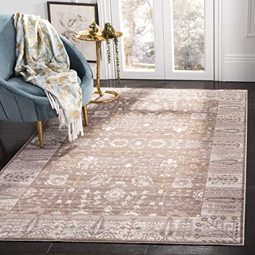 Safavieh Valencia Collection VAL118F Brown and Beige Vintage Distressed Silky Polyester Area Rug 9' x 12'