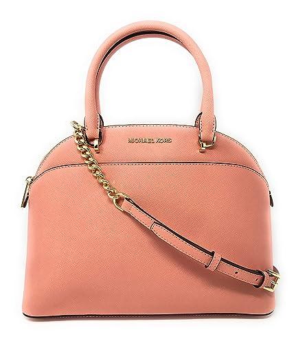 b3e6bd4348f9 Michael Kors Emmy Large Dome Saffiano Leather Satchel Shoulder Bag Purse  Handbag in Peach