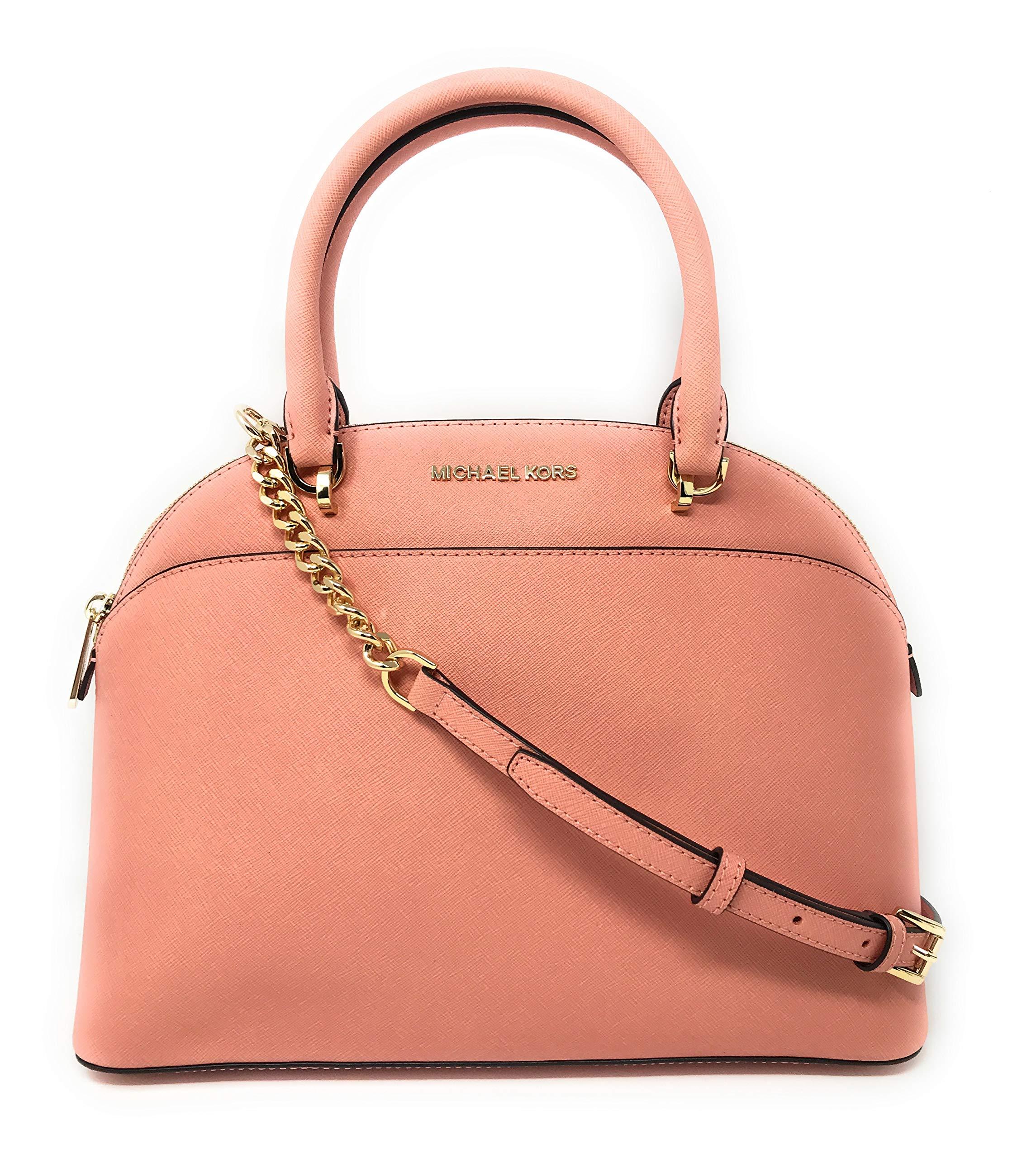 Michael Kors Emmy Large Dome Saffiano Leather Satchel Shoulder Bag Purse Handbag in Peach