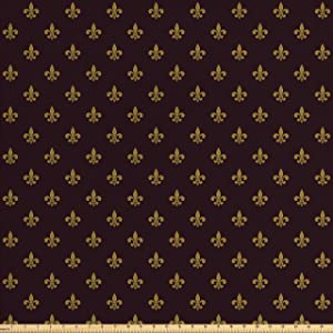 Ambesonne Fleur De Lis Fabric by The Yard, French Pattern European Culture Theme Abstract Vintage Renaissance, Decorative Fabric for Upholstery and Home Accents, 1 Yard, Yellow Burgundy