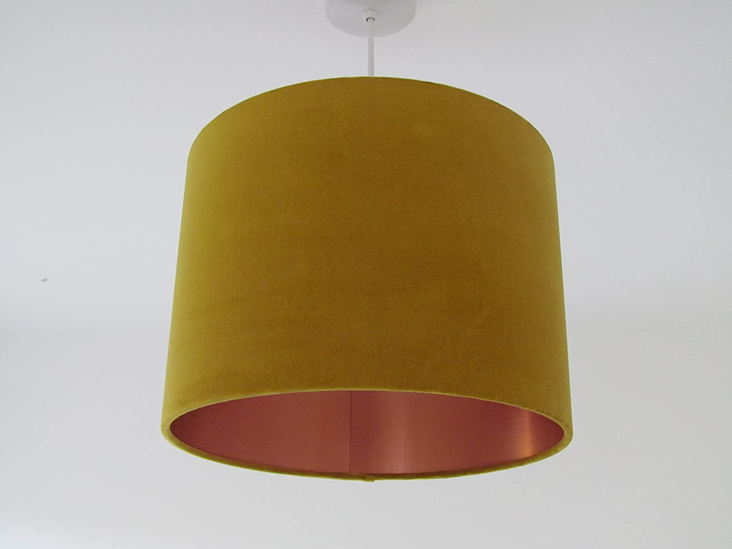 16ad023ab01 Mustard Yellow Gold Velvet with Brushed Copper Metallic Lined Lampshade  Lightshade All Sizes  Amazon.co.uk  Handmade