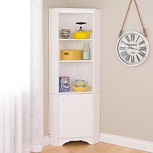 Prepac WSCC-0604-1 Elite Home Corner Storage Cabinet Tall 1-Door, White