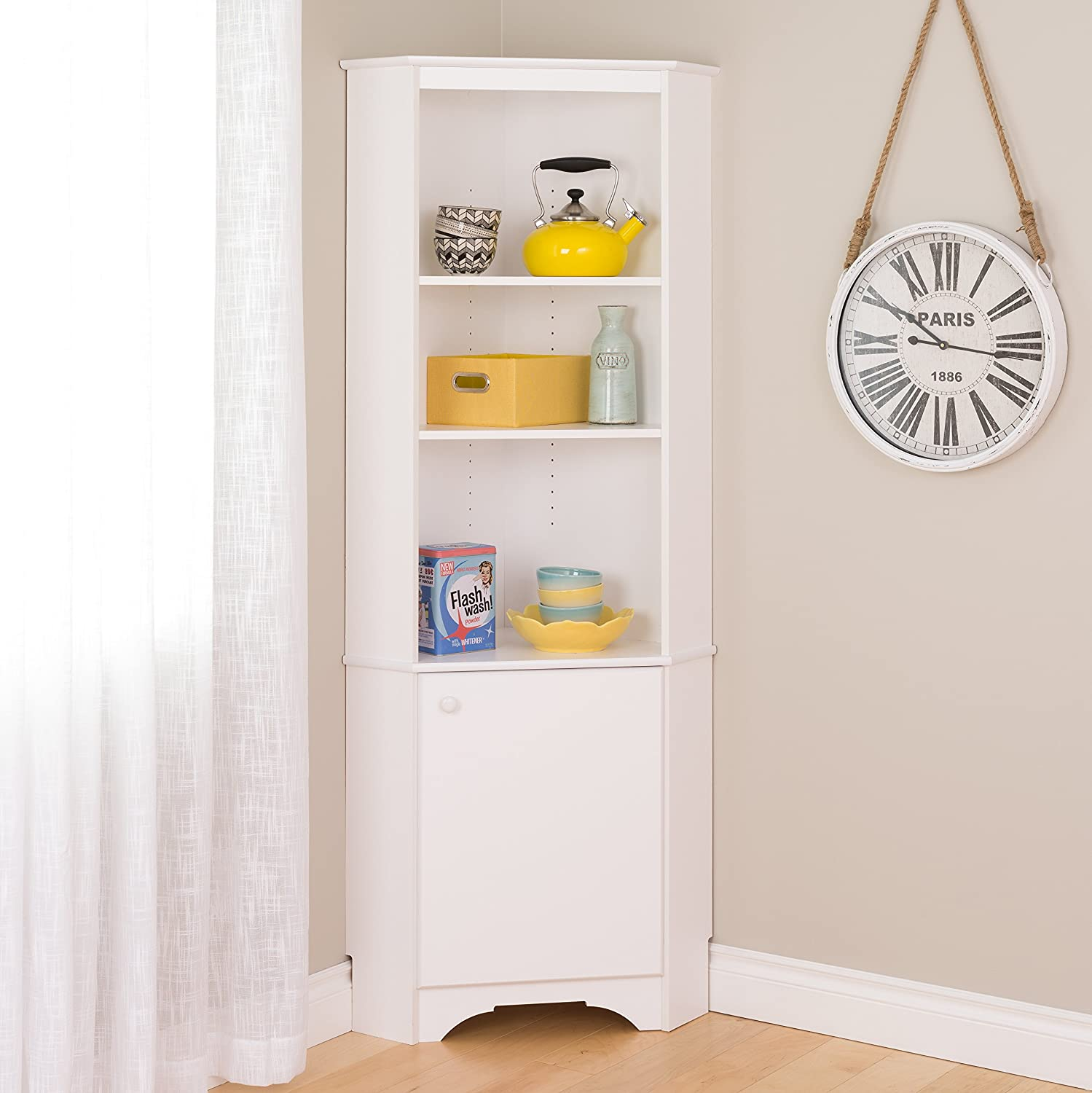 Amazon.com Prepac WSCC-0604-1 Home Elite Tall 1-Door Corner Storage Cabinet White Kitchen u0026 Dining  sc 1 st  Amazon.com & Amazon.com: Prepac WSCC-0604-1 Home Elite Tall 1-Door Corner ...