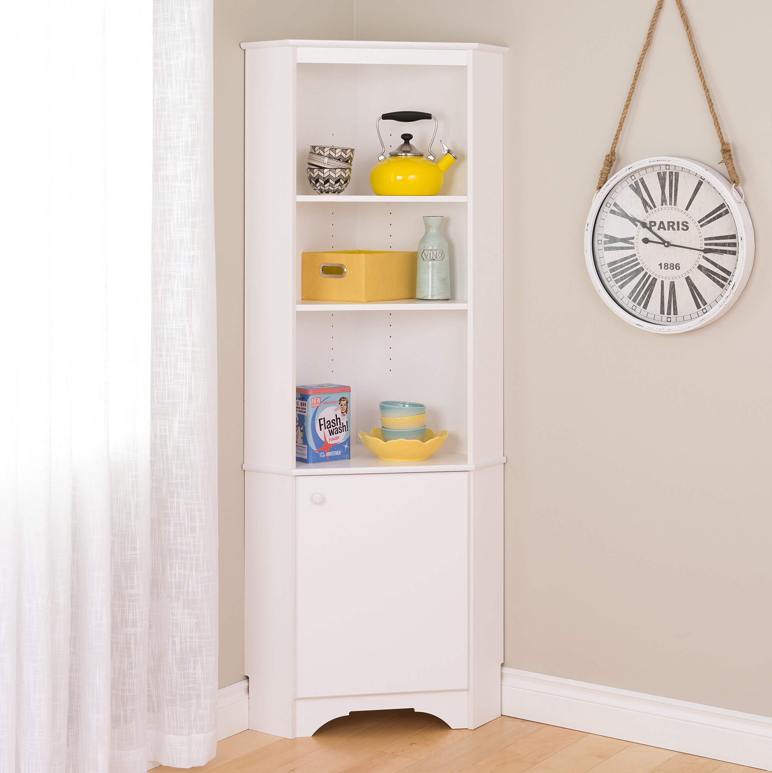 Prepac WSCC-0604-1 Home, Elite Tall 1-Door Corner Storage Cabinet, White