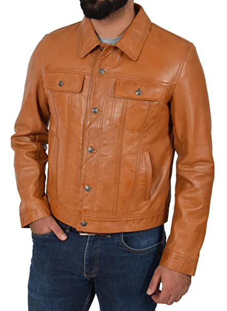 Mens Real Leather 1967 Trucker Jacket Classic Western Top Coat Slim Fit Brown