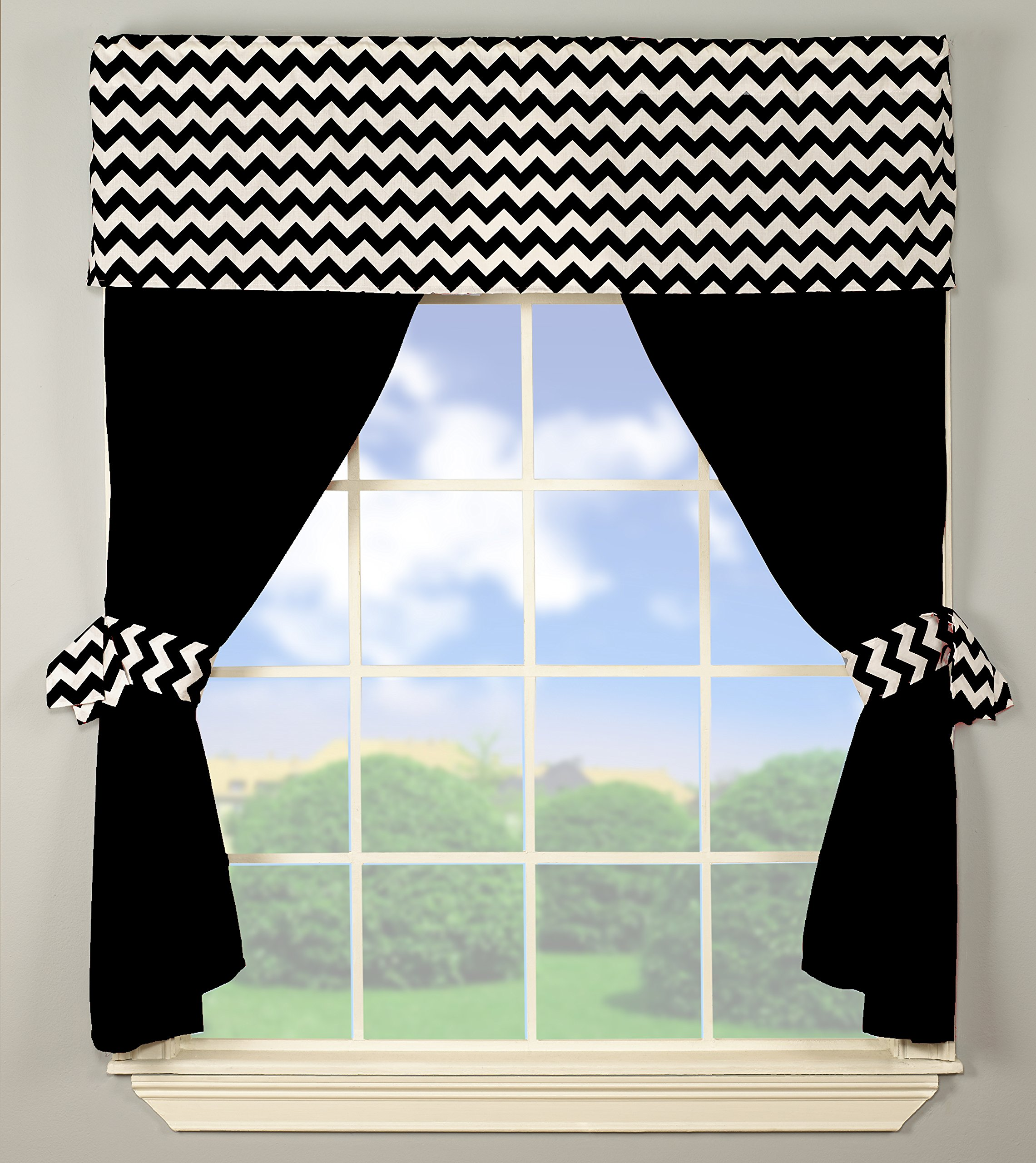 Baby Doll Bedding  Chevron Window Valance and Curtain Set, Black