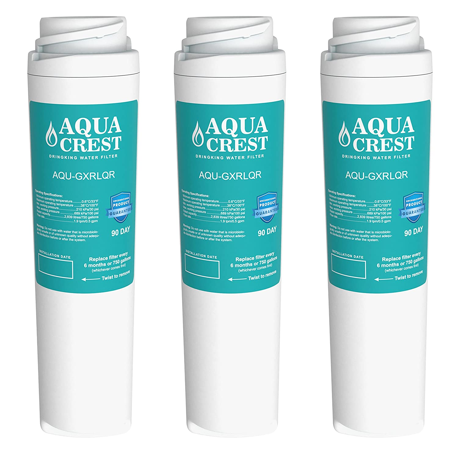 Aquacrest water filter replacement for ge gxrlqr 3 pack for Water feature filtration system