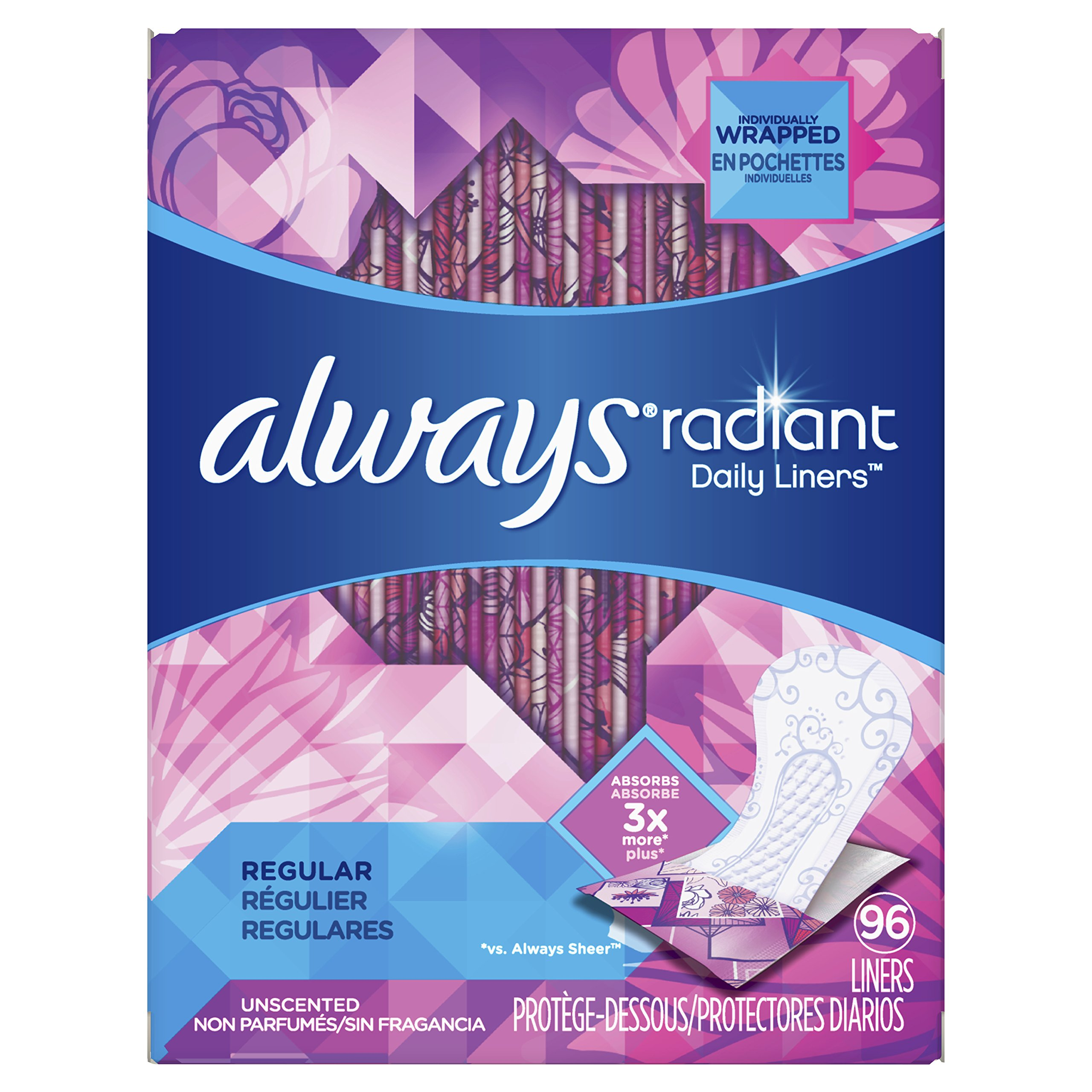Always Radiant Liners, Unscented, 96 Count,Pack of 4 (Total 384 Count) (Packaging May Vary)