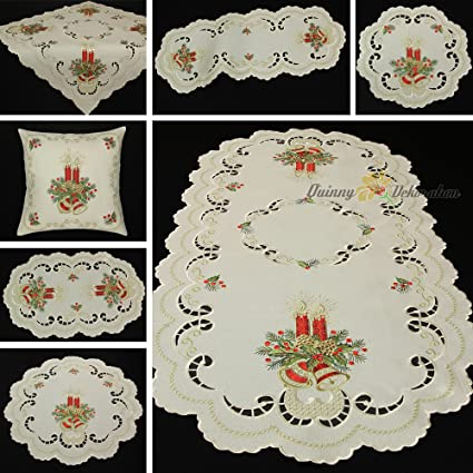 Christmas Table Runners To Make.Quinnyshop Embroidery Christmas Table Runners 16 Inch By 35 Inch 40 X 90 Cm Oval Linen Look Polyester Creme Red Gold