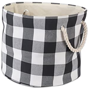 DII Polyester Storage Basket or Bin with Durable Cotton Handles, Home Organizer Solution for Office, Bedroom, Closet, Toys, Laundry, Medium Round, Black & White