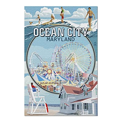 Ocean City, Maryland - Montage Scenes (Premium 1000 Piece Jigsaw Puzzle for Adults, 20x30, Made in USA!): Toys & Games