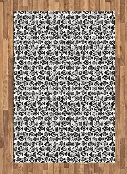 Amazon Com Lunarable Black And White Area Rug Doodle Style