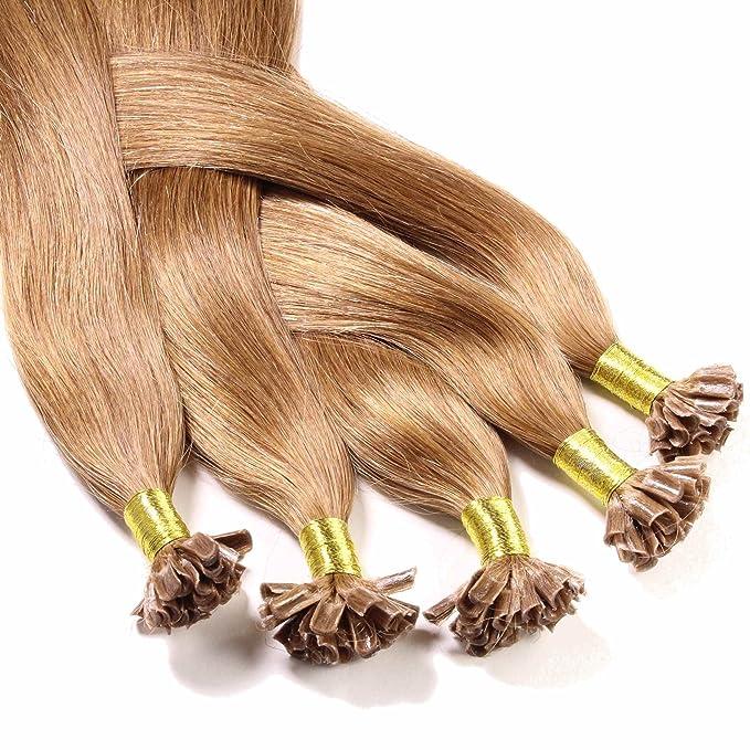 Hair2Heart 100 x 0,5g Extensiones de Queratina - 30cm - Liso, Color 8 Bronceado: Amazon.es: Belleza