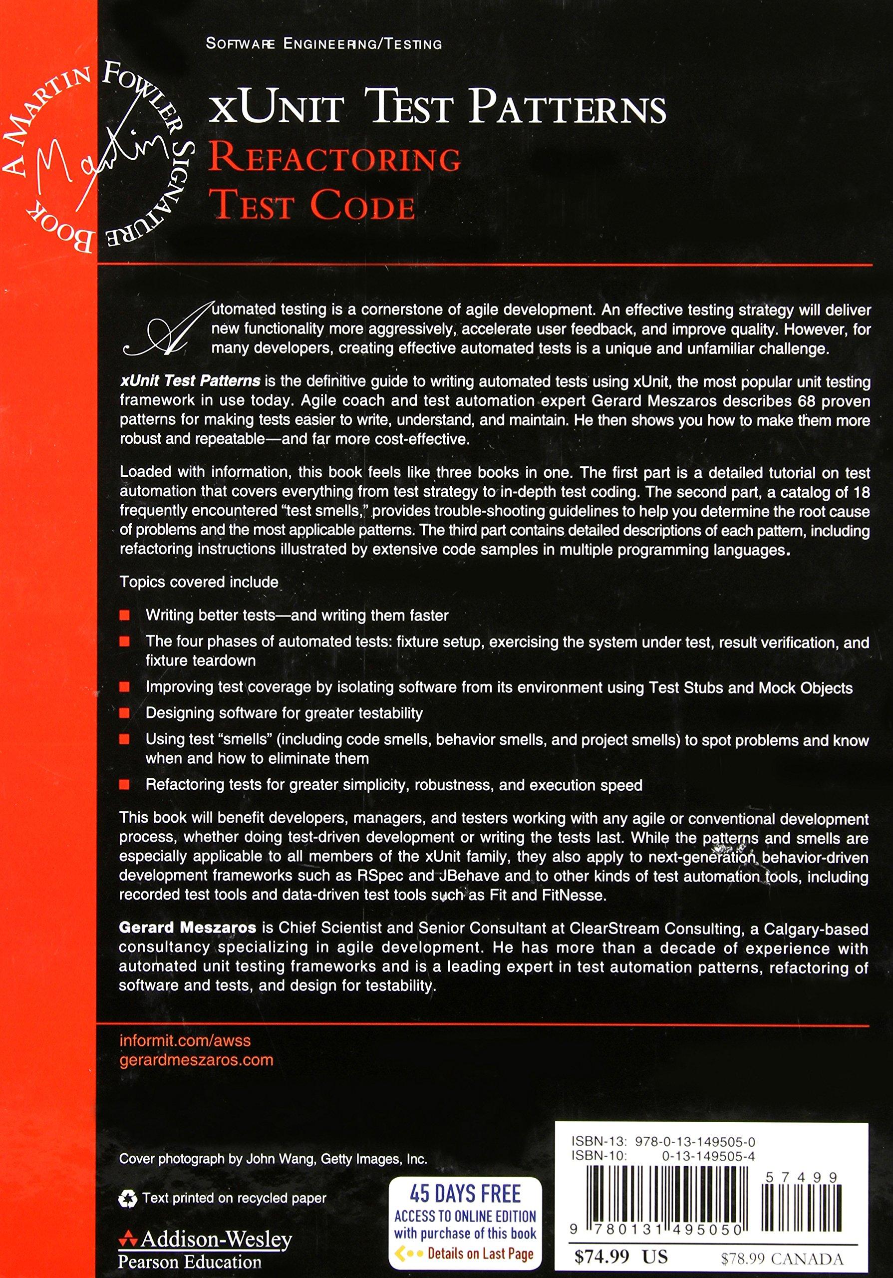 Xunit Test Patterns: Refactoring Test Code - Livros na Amazon Brasil-  0076092037590