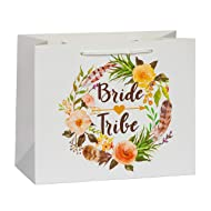Bride Tribe Bridesmaid Gift Bags by SASSY BACH (Set of 10) Floral Gift Bags for Bridesmaid Gifts, Bridesmaid Proposal and Bachelorette Party Bags for Bachelorette Party Favors