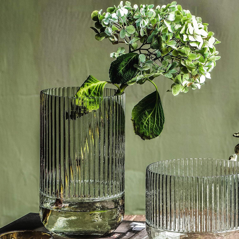 Glass Flower Vase Plant Pot Bottle Portable Durable Table Decoration Rose Red