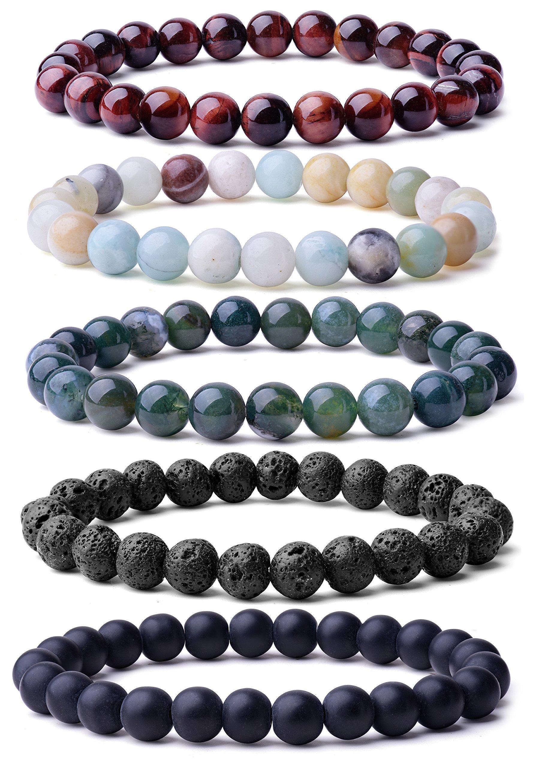 WRCXSTONE Natural 8mm Gorgeous Semi-Precious Gemstones Healing Crystal Stretch Beaded Bracelet Unisex