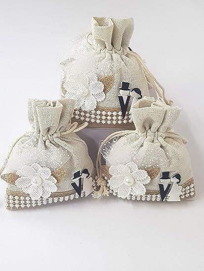 Bomboniere Confetti Matrimonio.Takestop Set 12 Pezzi Sacchetti Sacchetto Bianco Fiore Sposi