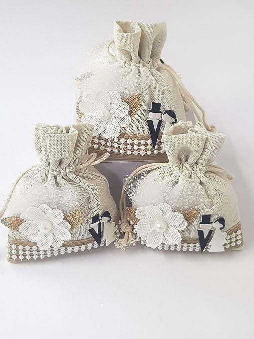 Bomboniere Sacchetti Matrimonio.Takestop Set 12 Pezzi Sacchetti Sacchetto Bianco Fiore Sposi