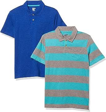 Marca Amazon - Spotted Zebra 2-Pack Slub Jersey Short-Sleeve Polo Shirts Niños