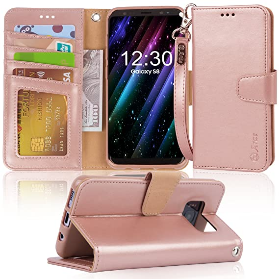 meet 7e684 31ca1 Arae Case Compatible for Samsung Galaxy S8, [Wrist Strap] Flip Folio  [Kickstand Feature] PU Leather Wallet case with ID&Credit Card Pockets [Not  for ...